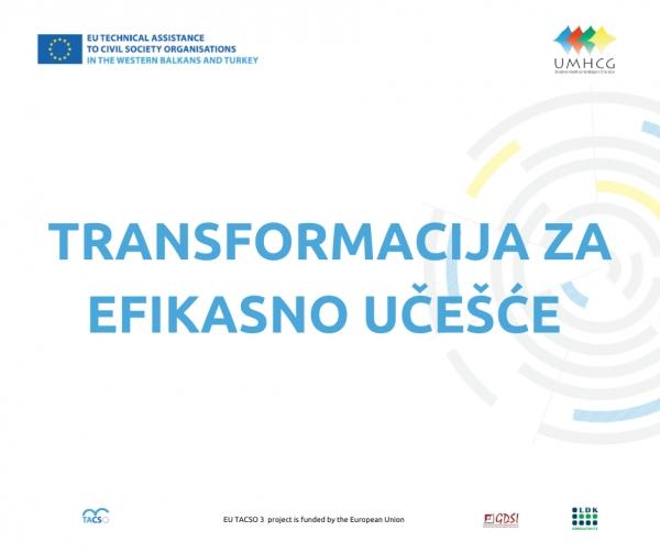 UMHCG POČINJE REALIZACIJU PROGRAMA TRANSFORMACIJA ZA EFIKASNO UČEŠĆE (Transformation for Efficient participation – TEN)